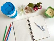 Desktop rzeczy notatnik Obrazy Royalty Free