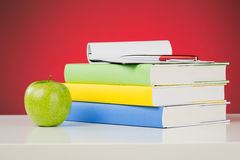 Desktop with School Objects Royalty Free Stock Image