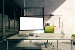 Desktop with screen in office Stock Photo