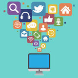 Desktop with social media icons Stock Image