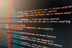 Desktop source code and Wallpaper by Computer language with codi. Desktop source code and technology background, Developer or programer with coding and royalty free stock image
