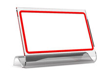 Desktop tablet in a glass frame. The image is a framework in which it is possible to insert any inscription (for printing and web Stock Photo