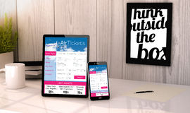 Desktop tablet and phone booking tickets flight Stock Photography
