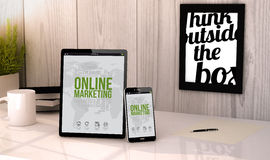 Desktop tablet and phone online marketing Stock Photography