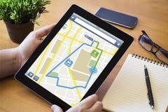 Desktop tablet route planning Stock Photos