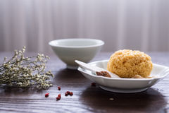 On the desktop, tableware and food. Indoor shooting royalty free stock image