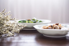 On the desktop, tableware and food. Indoor shooting royalty free stock images