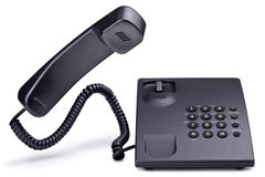 Desktop telephone. Desktop anthracite telephone; isolated on white background Royalty Free Stock Photo