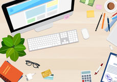 Desktop top view with different objects, vector illustration Stock Image