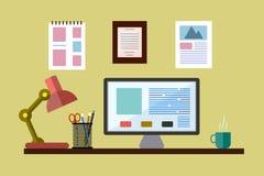 desktop Travail de bureau Style plat Photographie stock libre de droits