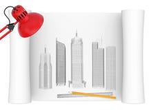 Desktop van architect royalty-vrije illustratie