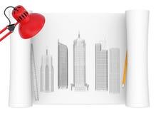 Desktop van architect stock illustratie