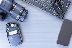 Desktop van de fotograaf royalty-vrije stock afbeeldingen