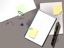 Desktop (Vector). A desktop with spiral notepad pen and notes Royalty Free Stock Image