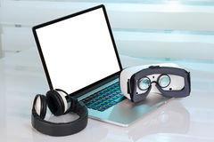 Desktop with virtual reality equipment Stock Photography