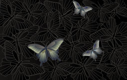 Desktop wallpaper - background with butterflies Stock Images