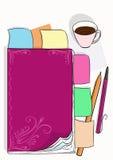 Desktopillustratie met het dagelijkse logboek, nota's en een kop van koffie Stock Afbeeldingen