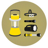 Desktoplamp, foreheadlamp, handheld flashlight on the background of the circles. Vector Royalty Free Stock Image