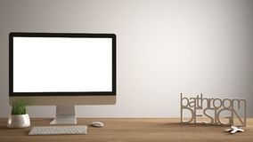 Desktopmodel, malplaatje, computer op houten het werkbureau met het lege scherm, huissleutels die, 3D brieven het ontwerp van de  stock afbeeldingen