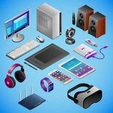 Desktoppc en digitale gadgets in isometry stock illustratie