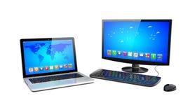 Desktoppc en laptop Royalty-vrije Stock Afbeeldingen