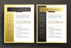 Deskundig cv/hervat malplaatje in zwarte en gouden kleuren - professio royalty-vrije illustratie