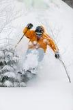 Deskundige skiër het ski?en poedersneeuw in Stowe, Vermont, stock foto's