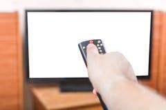 Desligue a tevê com a tela cortada pelo controlo a distância Imagens de Stock