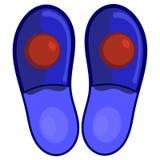 Deslizadores azules del dormitorio con los pompoms rojos Imagen de archivo