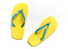 Deslizadores das sandálias no fundo branco Fotos de Stock Royalty Free