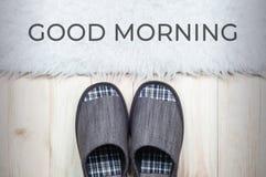 Deslizadores de matéria têxtil no assoalho de madeira com o tapete branco da pele Conceito do bom dia fotos de stock royalty free