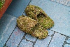 Deslizadores hechos de la hierba Flip Flops Footwear Concept Imágenes de archivo libres de regalías