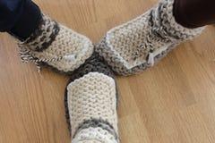 Deslizadores hechos de lanas naturales Fotos de archivo