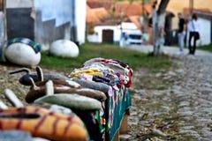 Deslizadores hechos a mano en Viscri Foto de archivo libre de regalías