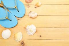 Deslizadores y cáscaras de la playa en la madera Imagenes de archivo