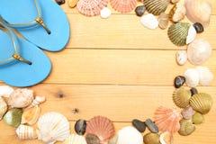 Deslizadores y cáscaras de la playa en la madera Fotografía de archivo libre de regalías