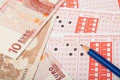 Deslizamento de aposta do Euro e dos esportes Imagens de Stock Royalty Free