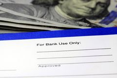 Deslizamento de transferência da operação bancária da renda de negócio Foto de Stock