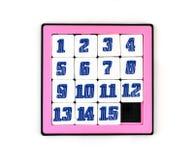 Deslizando o jogo do enigma com 15 números Fotografia de Stock Royalty Free