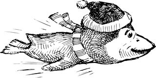Deslizando o pinguim ilustração royalty free