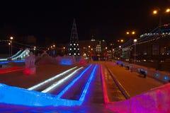 Deslize com iluminação da cor, vista superior Foto de Stock Royalty Free