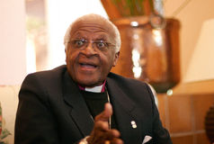Desmond tutu. The spanish island of mallorca. is a South African social rights activist and retired Anglican bishop Desmond Tutu gestures during a press Stock Image
