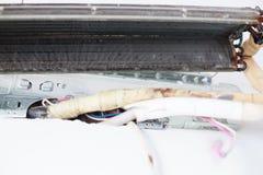 Desmonte e limpe as peças do condicionador de ar pela água ou pelo ar de alta pressão do bocal ou do vácuo Manutenção do disposit fotos de stock