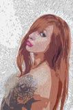 Desnudo sacado - muchacha del pelirrojo imágenes de archivo libres de regalías