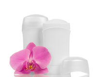 Desodorierende Mittel und Orchideenblume Stockfotos