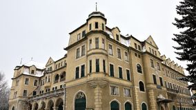 Desolate abandoned building of Grand Hotel Royal in Piestany, Slovakia during winter 2017 Royalty Free Stock Photography