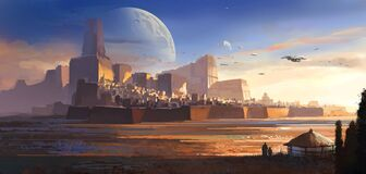 Free Desolate Alien, Desert Castle, Science Fiction Illustration. Stock Photo - 185431110