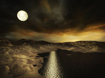 Desolate Alien World. With rocky dunes and moon shining on the water Royalty Free Stock Images