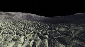 Desolate Asteroid Rockfield. Asteroidal landscape strewn with rubble and starfield horizon Stock Photography