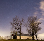 Desolate Barn after Dark. An abandoned hay barn on a farm after dark stock photo